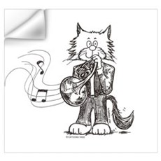 French Horn Cat Wall Decal