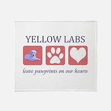 Yellow Lab Pawprints Throw Blanket