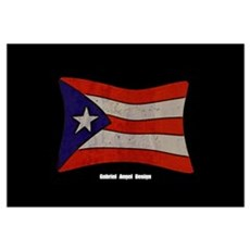 Puerto Rico Flag Graffiti Canvas Art
