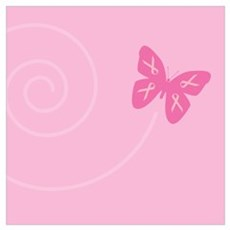 Pink Ribbon Butterfly Framed Print