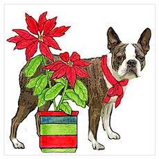 Boston terrier Christmas2 Poster