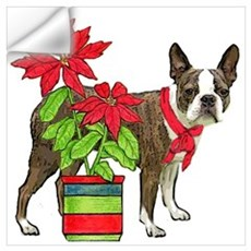 Boston terrier Christmas2 Wall Decal