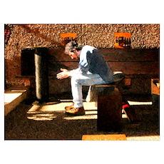 Man Praying in Stone Church Poster