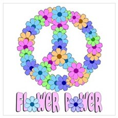 Flower Power Peace Sign Framed Print
