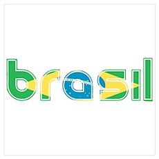 Brazil Flag in Name Poster