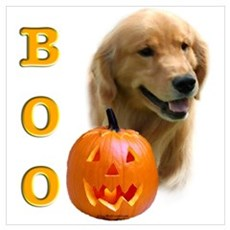 Halloween Golden Retriever Boo Poster