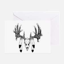 European Skull mount with eagle feathers Greeting