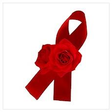 AIDS RIBBON & ROSES Poster