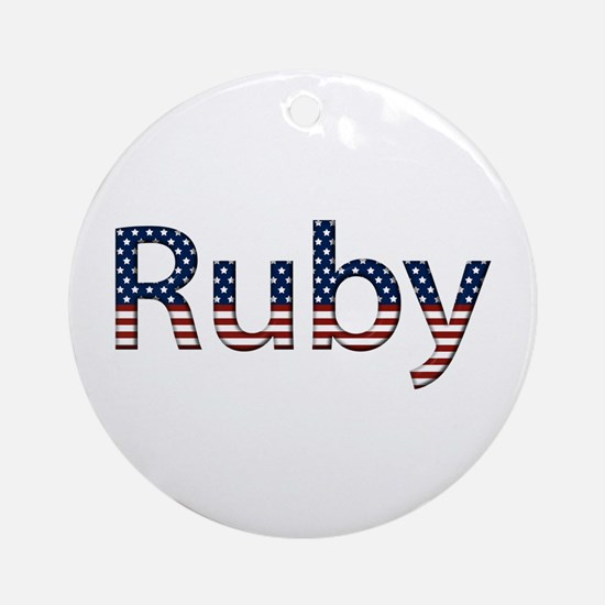 Ruby Stars and Stripes Round Ornament