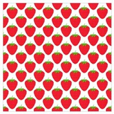 Red Strawberry Pattern Poster