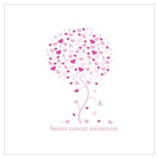 Breast Cancer Awareness Pink Ribbon Tree Small Pos Poster