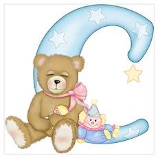 Teddy Alphabet C Blue Poster