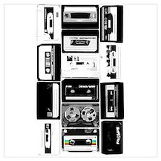 Audio Music Cassettes B&W Poster