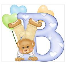 Teddy Alphabet B (bd) Blue Poster