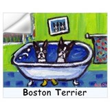 Boston terriers in bathtub Wall Decals