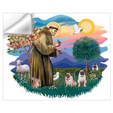 St. Fran #2/ Two Pugs (fawn) Wall Decal