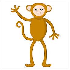 Cute Waving Monkey Poster
