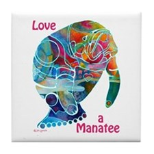 Manatees in Many Colors Tile Coaster
