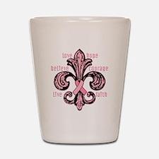 Pink Fleur Ribbon Shot Glass