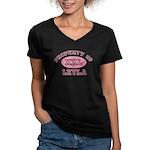 Property of Leyla Women's V-Neck Dark T-Shirt