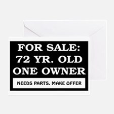 For Sale 72 Year Old Birthday Greeting Card