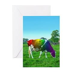 Rainbow Cow Greeting Card