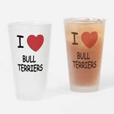 I heart bull terriers Drinking Glass