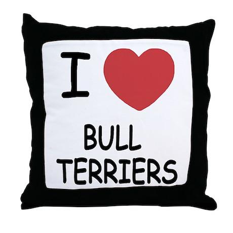 I heart bull terriers Throw Pillow