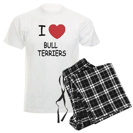 I heart bull terriers Men's Light Pajamas