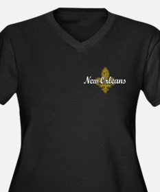 New Orleans Women's Plus Size V-Neck Dark T-Shirt