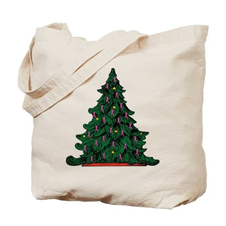 Pink Ribbon Christmas Tree Tote Bag