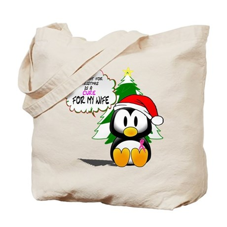 Christmas Breast Cancer Cure for my Wife Tote Bag