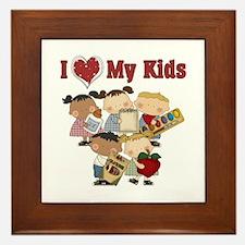 I Heart My Kids Teacher Framed Tile
