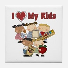 I Heart My Kids Teacher Tile Coaster
