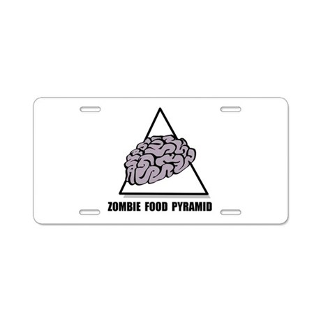 Zombie Food Pyramid Aluminum License Plate