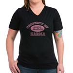 Property of Karma Women's V-Neck Dark T-Shirt