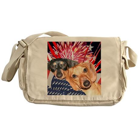 Patriotic Dachshund Dogs Messenger Bag