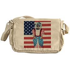 USA Flag Dachshund Dog Messenger Bag