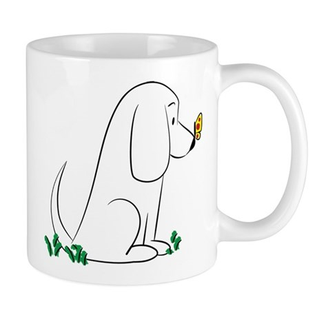 Doodle Basset With Butterfly Mug