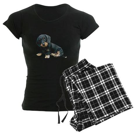 Black and Tan Wire Hair Women's Dark Pajamas
