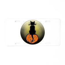 Black Cat and Full Moon Aluminum License Plate