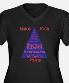 Illinois Food Pyramid Women's Plus Size V-Neck Dar