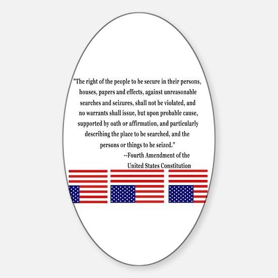 4th Amendment & Upside Down Flag Oval Decal