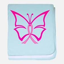 Pink Ribbon Butterfly baby blanket