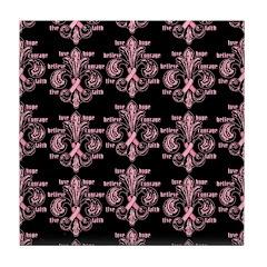 Pink Fleur Ribbon Tile Coaster