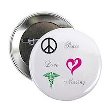 """Peace, Love, Nursing 2.25"""" Button"""
