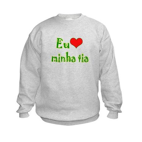 I Love Aunt (Port/Brasil) Kids Sweatshirt