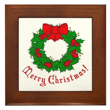 Christmas Wreath Framed Tile