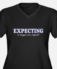 Expecting a refund Women's Plus Size V-Neck Dark T