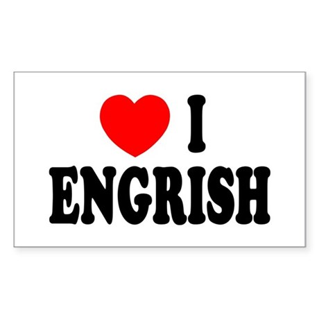 Love (Heart) I Engrish Sticker (Rectangle)